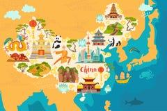Mappa dell'estratto della Cina, illustrazione disegnata a mano Fotografia Stock