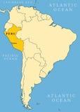 Mappa dell'indicatore di posizione del Perù Fotografie Stock Libere da Diritti