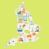 Mappa dell'Inghilterra con le icone di tecnologia Immagini Stock