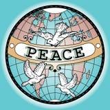Mappa dell'insegna di pace del globo del mondo con le colombe Immagini Stock Libere da Diritti