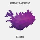 Mappa dell'Islanda in poligonale geometrico, stile del mosaico Fotografia Stock