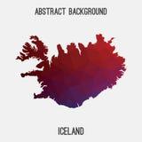 Mappa dell'Islanda in poligonale geometrico, stile del mosaico Fotografia Stock Libera da Diritti