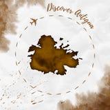 Mappa dell'isola dell'acquerello dell'Antigua nei colori di seppia royalty illustrazione gratis