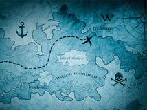 Mappa dell'isola del tesoro del pirata illustrazione di stock