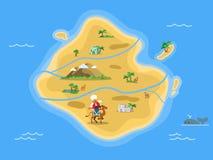Mappa dell'isola deserta della sabbia royalty illustrazione gratis