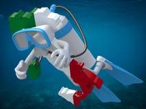 Mappa dell'Italia con gli occhiali di protezione e le alette di immersione subacquea Fotografie Stock