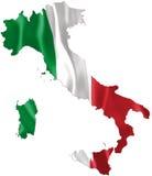 Mappa dell'Italia con la bandiera d'ondeggiamento Fotografia Stock
