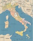 Mappa dell'Italia - illustrazione d'annata di vettore Immagine Stock