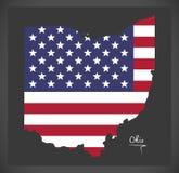 Mappa dell'Ohio con l'illustrazione americana della bandiera nazionale Immagine Stock Libera da Diritti