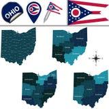 Mappa dell'Ohio con le regioni Fotografia Stock