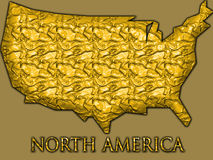 Mappa dell'oro degli Stati Uniti Fotografia Stock Libera da Diritti