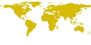 Mappa dell'oro del mondo Fotografia Stock Libera da Diritti