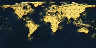 Mappa dell'oro del mondo Immagine Stock Libera da Diritti