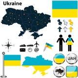 Mappa dell'Ucraina Immagine Stock Libera da Diritti