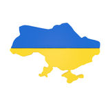 Mappa dell'Ucraina con la bandiera isolata su bianco Immagini Stock
