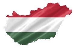 Mappa dell'Ungheria con la bandiera fotografia stock