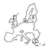 Mappa dell'Unione Europea dell'illustrazione nera di vettore di curvatura di contorno illustrazione vettoriale