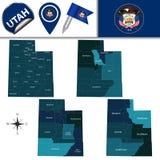 Mappa dell'Utah con le regioni Fotografie Stock