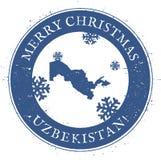 Mappa dell'Uzbekistan Buon Natale d'annata illustrazione di stock