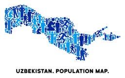 Mappa dell'Uzbekistan della gente illustrazione vettoriale