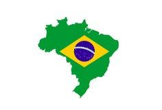 mappa della bandiera del Brasile Fotografie Stock
