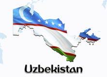 Mappa della bandiera dell'Uzbekistan 3D che rende la mappa e la bandiera dell'Uzbekistan sulla mappa dell'Asia Il simbolo naziona illustrazione vettoriale