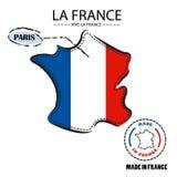 Mappa della bandiera di vettore della Francia Fotografia Stock