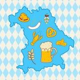 Mappa della Baviera con i simboli più oktoberfest Fotografie Stock