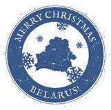 Mappa della Bielorussia Buon Natale d'annata Bielorussia Fotografia Stock Libera da Diritti
