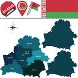 Mappa della Bielorussia con le regioni nominate Fotografie Stock
