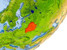 Mappa della Bielorussia su terra Immagine Stock Libera da Diritti