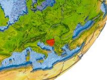 Mappa della Bosnia-Erzegovina su terra Immagine Stock Libera da Diritti