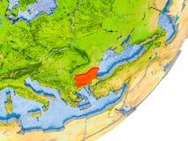 Mappa della Bulgaria su terra Fotografia Stock Libera da Diritti