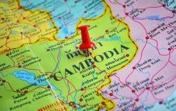 Mappa della Cambogia Fotografia Stock Libera da Diritti