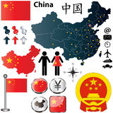 Mappa della Cina Fotografie Stock Libere da Diritti