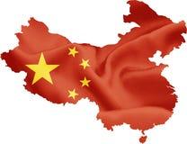 Mappa della Cina con la bandiera fotografia stock