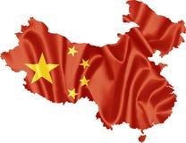 Mappa della Cina con la bandiera fotografia stock libera da diritti