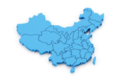 Mappa della Cina con le province Fotografie Stock