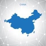 Mappa della Cina, fondo di comunicazione Illustrazione di vettore Immagini Stock Libere da Diritti