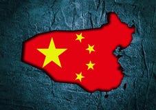 Mappa della Cina nel telaio strutturato del calcestruzzo Fotografie Stock Libere da Diritti