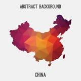 Mappa della Cina in poligonale geometrico, stile del mosaico Fotografia Stock Libera da Diritti