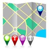 Mappa della città con i perni Fotografie Stock Libere da Diritti