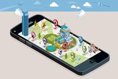 Mappa della città con i perni e una Camera intelligente Fotografie Stock