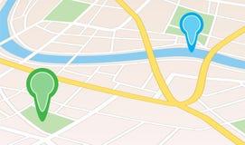 Mappa della città con il fiume e puntatori nella prospettiva Illustrazione di Stock