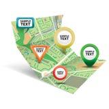 Mappa della città con le icone 3 Immagine Stock Libera da Diritti