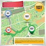 Mappa della città con le icone Fotografia Stock Libera da Diritti