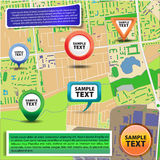 Mappa della città con le icone 2 Fotografie Stock Libere da Diritti