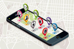 Mappa della città con le icone di servizi Immagine Stock Libera da Diritti