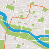 Mappa della città con un fiume Fotografia Stock Libera da Diritti