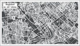 Mappa della città di Bagdad Irak nel retro stile Immagini Stock